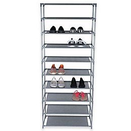 Home Basics® 10-Tier Coated Shoe Rack in Grey