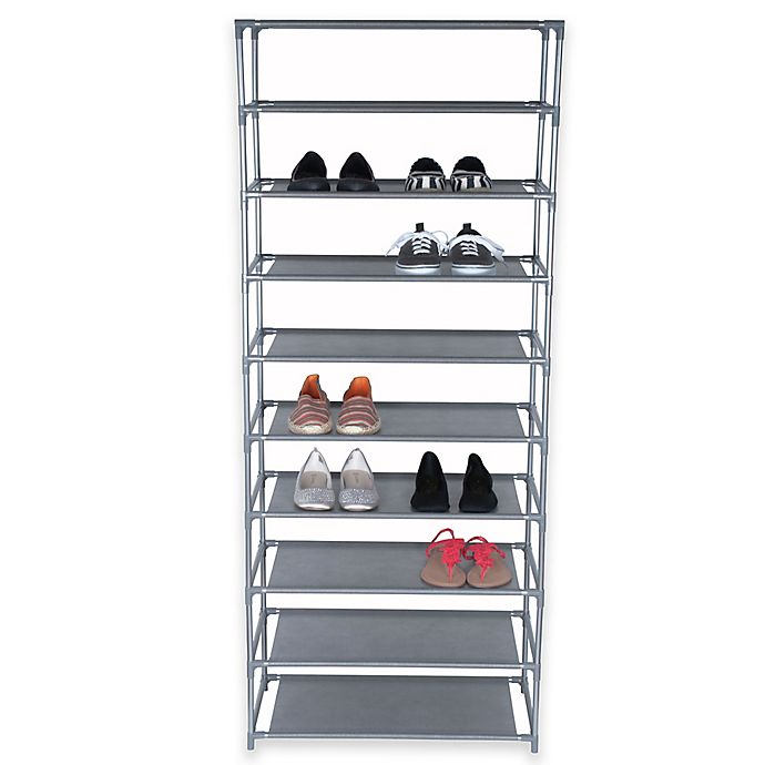 Alternate image 1 for Home Basics® 10-Tier Coated Non-Woven Shoe Rack in Grey