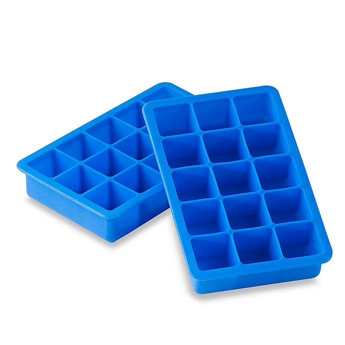 Alternate image 1 for SALT™ Blue Silicone Ice Cube Trays (Set of 2)