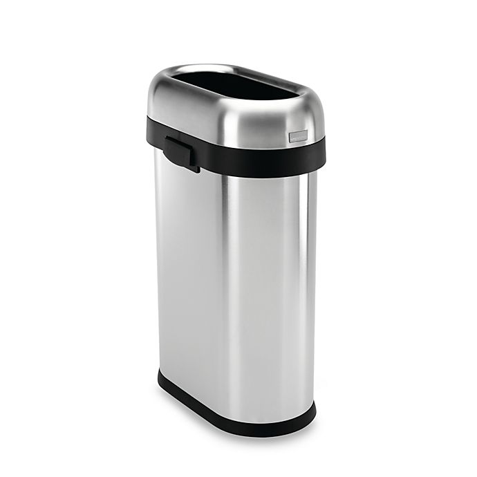 Alternate image 1 for simplehuman® Brushed Stainless Steel 50-Liter Slim Open Can