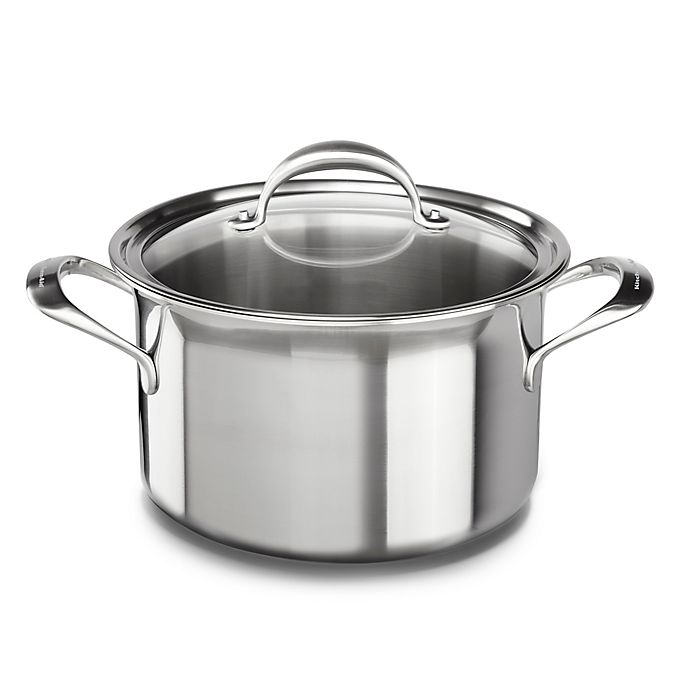 Alternate image 1 for Kitchenaid® 8 qt. Copper Core Stainless Steel Covered Stock Pot