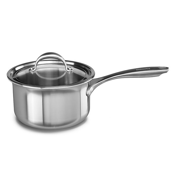 Alternate image 1 for Kitchenaid® 3 qt. Copper Core Stainless Steel Covered Saucepan