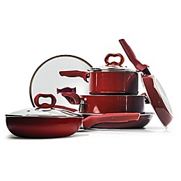 Ecolution™ Bliss Nonstick Aluminum 8-Piece Cookware Set in Candy Apple Red