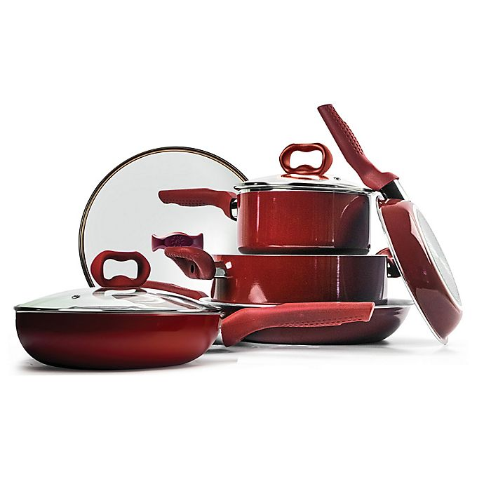 Alternate image 1 for Ecolution™ Bliss Nonstick Aluminum 8-Piece Cookware Set in Candy Apple Red