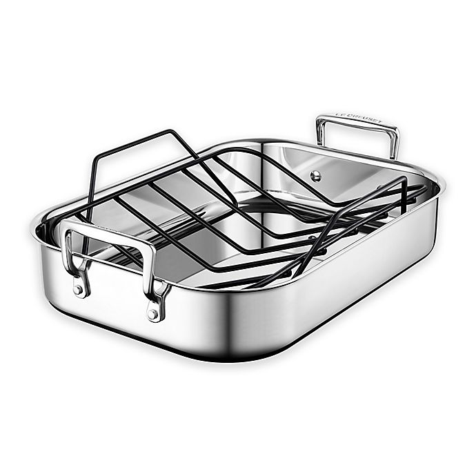 Alternate image 1 for Le Creuset® 14-Inch x 10-Inch Stainless Steel Roasting Pan with Nonstick Rack
