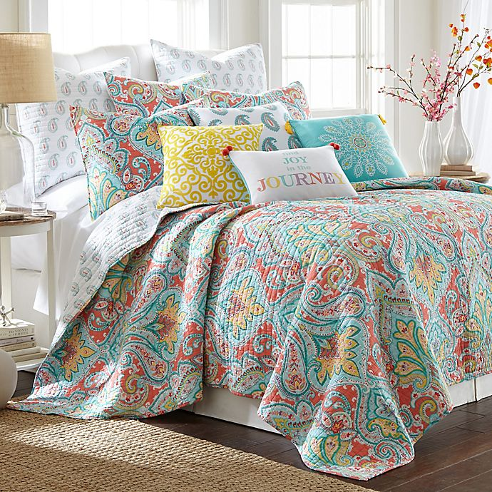 Alternate image 1 for Levtex Home Linda Reversible King Quilt Set in Teal/Red