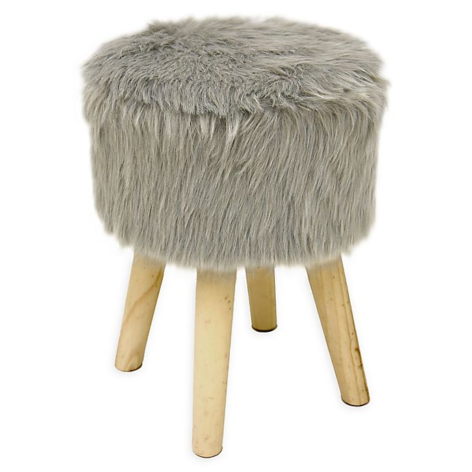 American Kids Faux Mongolian Fur Stool In Grey Bed Bath