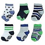 Capelli New York Size 3-12M 6-Pack Socks in Blue/Green/White