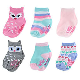 Capelli New York 6-Pack Owl and Fox Socks in Pink/Blue/Grey