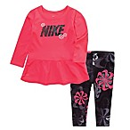 Nike® Dri-FIT Size 12M 2-Piece Swoosh Tunic Top and Legging Set in Black