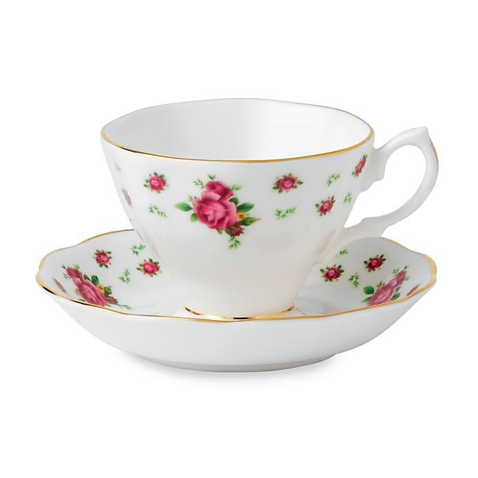 Alternate image 1 for Royal Albert New Country Roses Teacup and Saucer in White