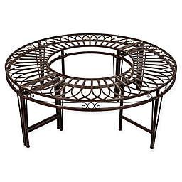 Design Toscano Gothic Roundabout Steel Garden Bench in Grey/Brown