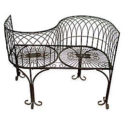 Design Toscano Tete a Tete Kissing Garden Bench in Black