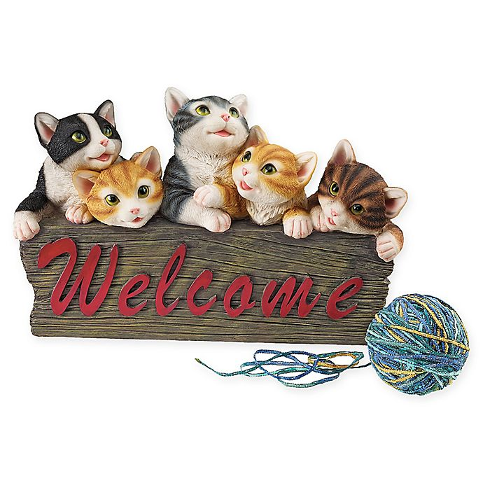 Design Toscano Kitten Kaboodle Cat Welcome Sign | Bed Bath ...