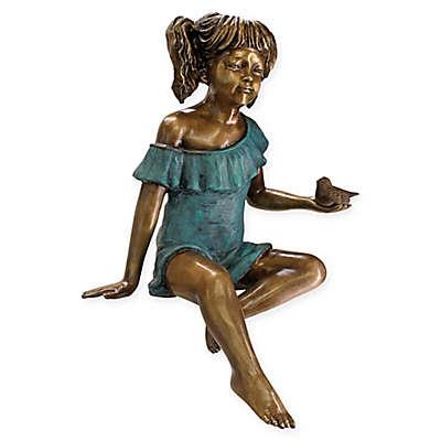 Design Toscano® Bridgette with Bird Cast Bronze Garden Statue