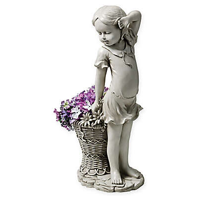 Design Toscano Frances the Flower Girl Outdoor Statue in Stone