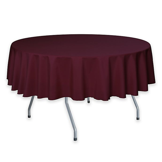 Alternate image 1 for 72-Inch Round Polyester Tablecloth in Ruby Red