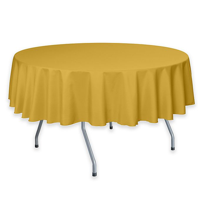 Alternate image 1 for 72-Inch Round Polyester Tablecloth in Goldenrod