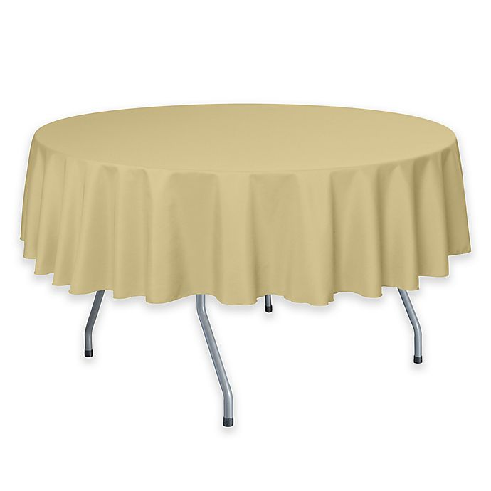 Alternate image 1 for 72-Inch Round Polyester Tablecloth in Honey
