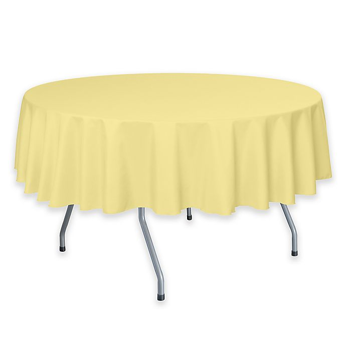 Alternate image 1 for 72-Inch Round Polyester Tablecloth in Cornsilk Yellow