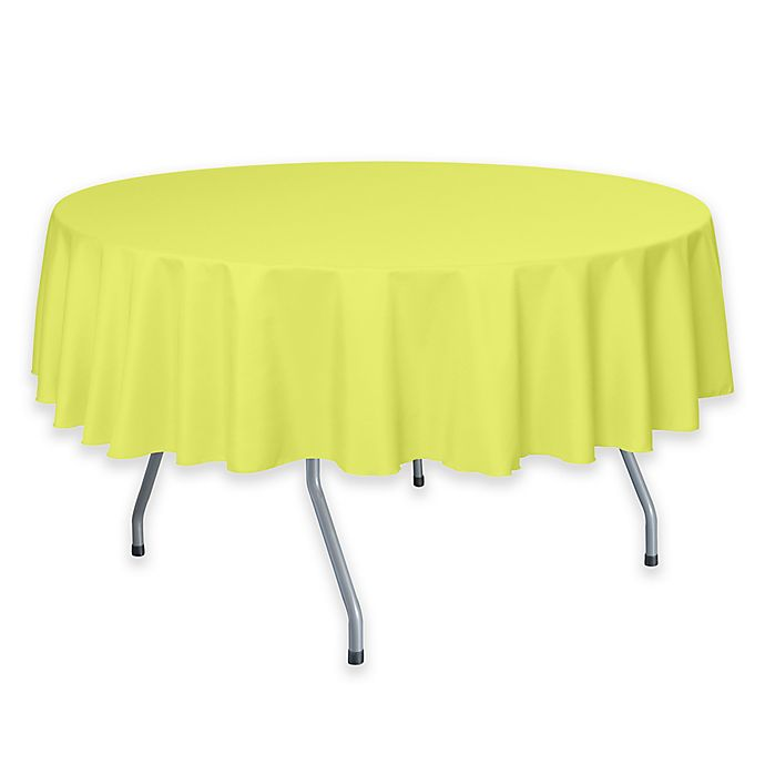 Alternate image 1 for 72-Inch Round Polyester Tablecloth in Lemon