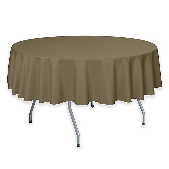 Alternate image 1 for 72-Inch Round Polyester Tablecloth in Khaki