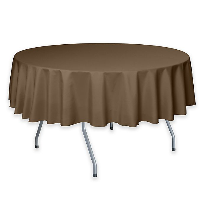 Alternate image 1 for 72-Inch Round Polyester Tablecloth in Toast