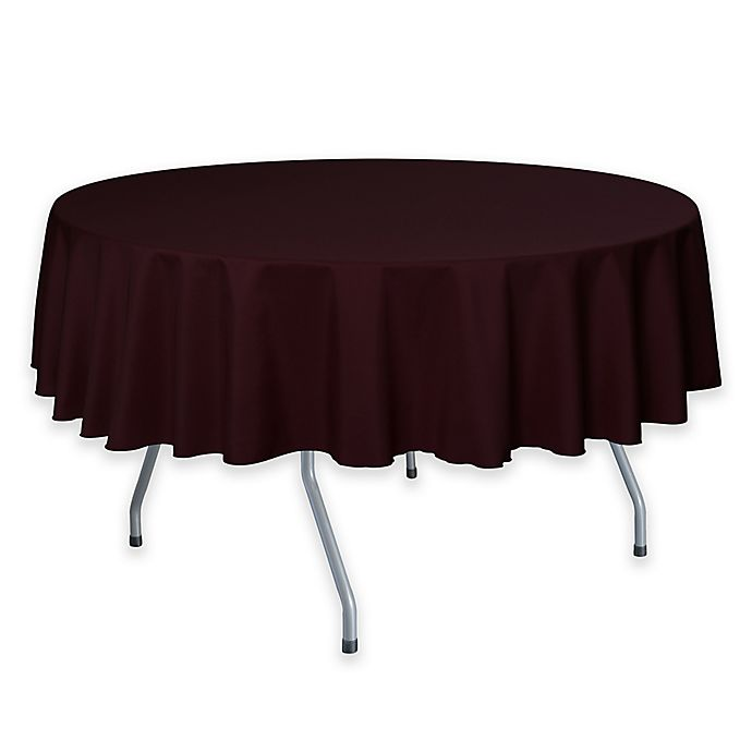 Alternate image 1 for 72-Inch Round Polyester Tablecloth in Burgundy