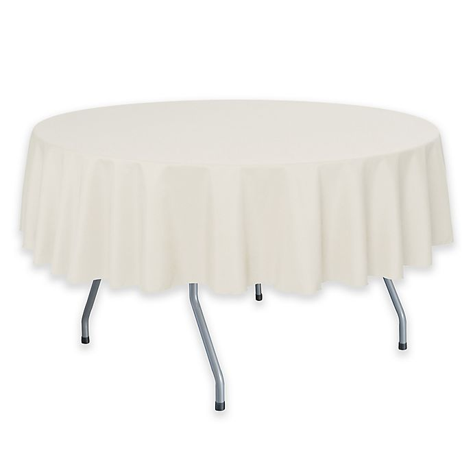 Alternate image 1 for 72-Inch Round Polyester Tablecloth in Ivory