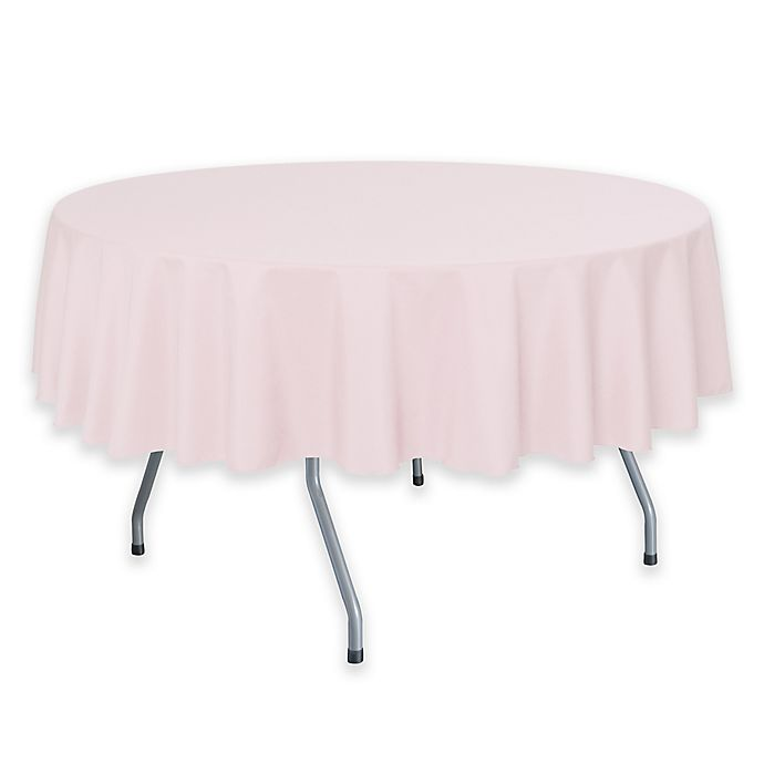 Alternate image 1 for 72-Inch Round Polyester Tablecloth in Pink Blush