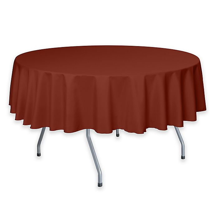 Alternate image 1 for 72-Inch Round Polyester Tablecloth in Burnt Orange