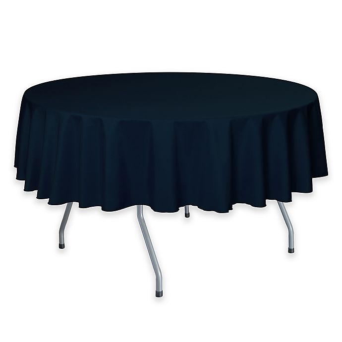 Alternate image 1 for 72-Inch Round Polyester Tablecloth in Navy