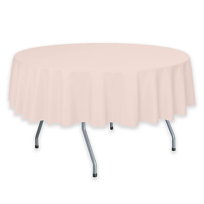 Alternate image 1 for 72-Inch Round Polyester Tablecloth in Ice Peach
