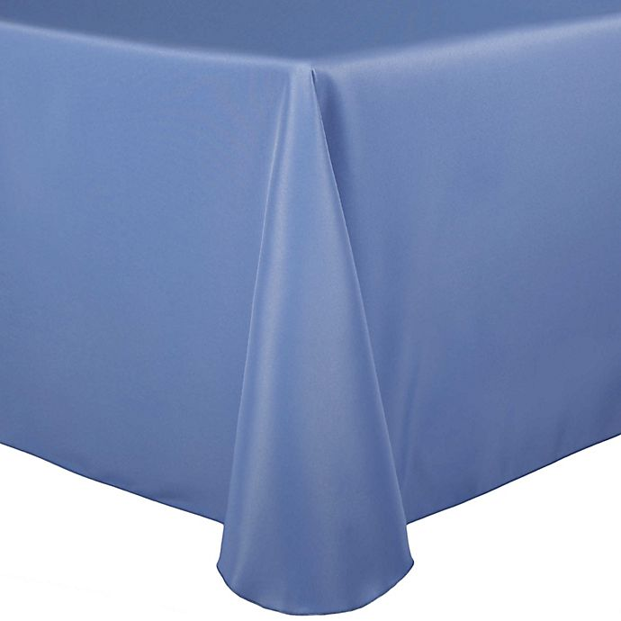Alternate image 1 for Stain-Resistant Solid 70-Inch x 104-Inch Oval Tablecloth in Periwinkle
