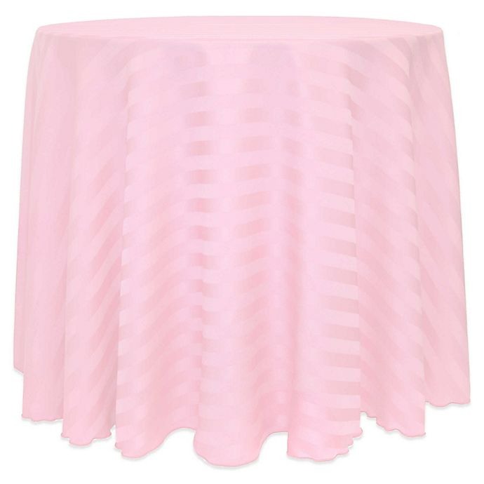 Alternate image 1 for 72-Inch Round Poly-Stripe Tablecloth in Light Pink