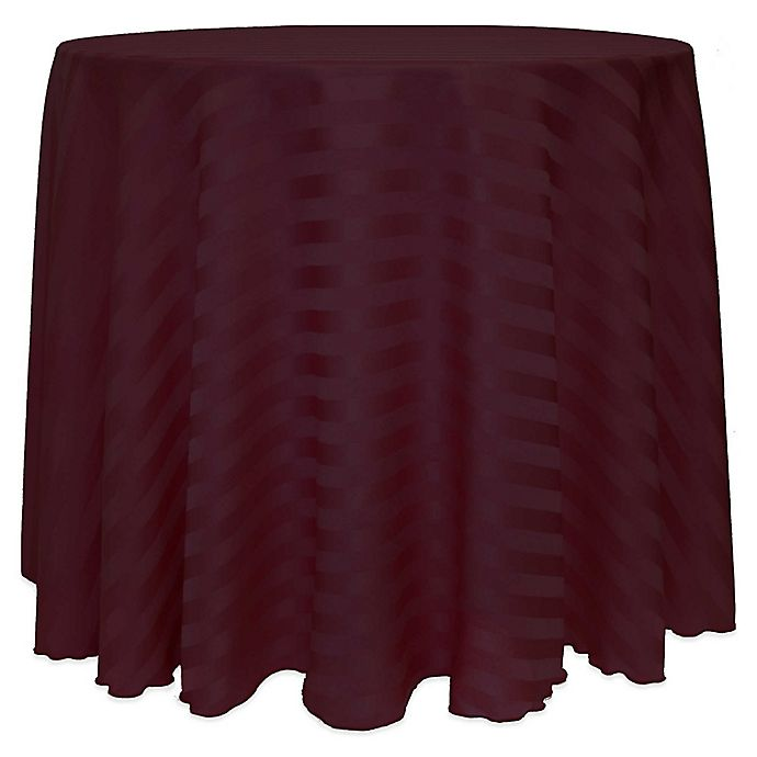 Alternate image 1 for 72-Inch Round Poly-Stripe Tablecloth in Burgundy