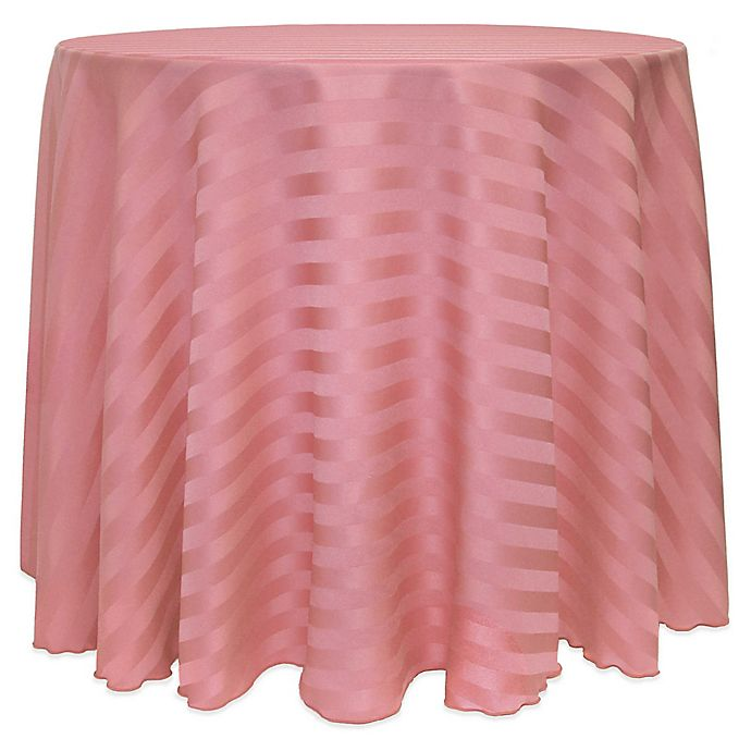 Alternate image 1 for 72-Inch Round Poly-Stripe Tablecloth in Dusty Rose
