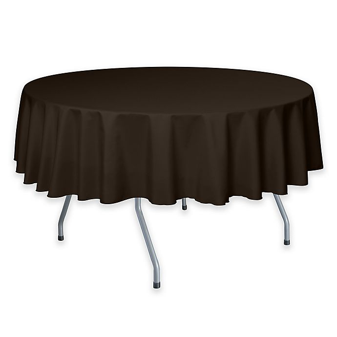 Alternate image 1 for Solid  60-Inch Round Tablecloth in Chocolate Brown
