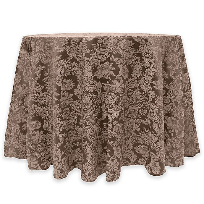 Alternate image 1 for Miranda Damask 60-Inch Round Tablecloth in Chocolate