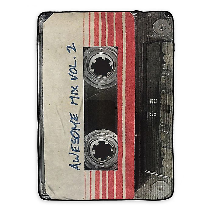 Alternate image 1 for Marvel® Guardians of the Galaxy Mix Tape Twin Blanket in Black/Tan