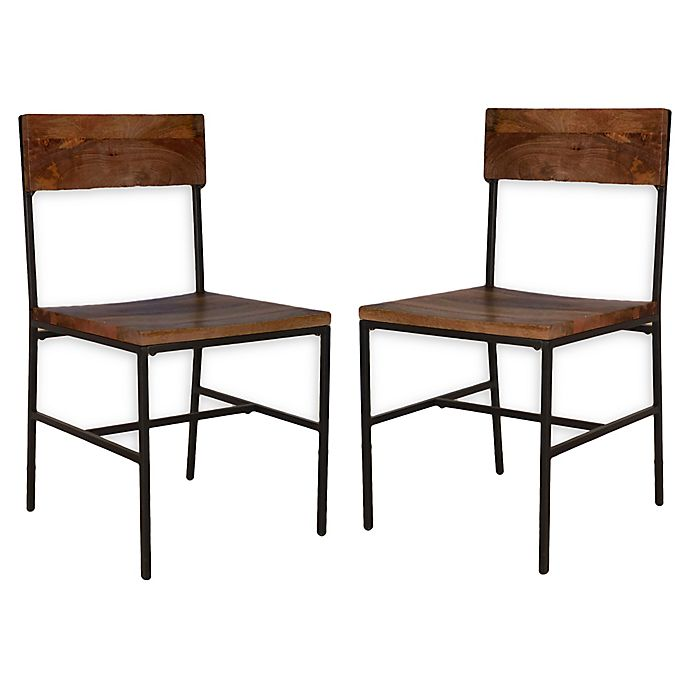 Alternate image 1 for Carolina Forge Wood/metal Elmsley Dining Chairs in Chestnut/black (Set of 2)
