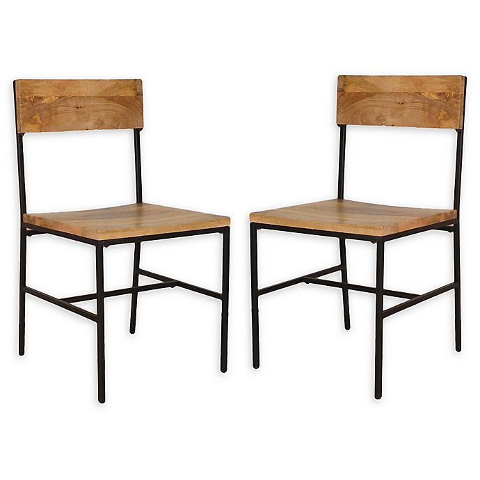 Alternate image 1 for Carolina Forge Wood/metal Elmsley Dining Chairs in Natural/black (Set of 2)