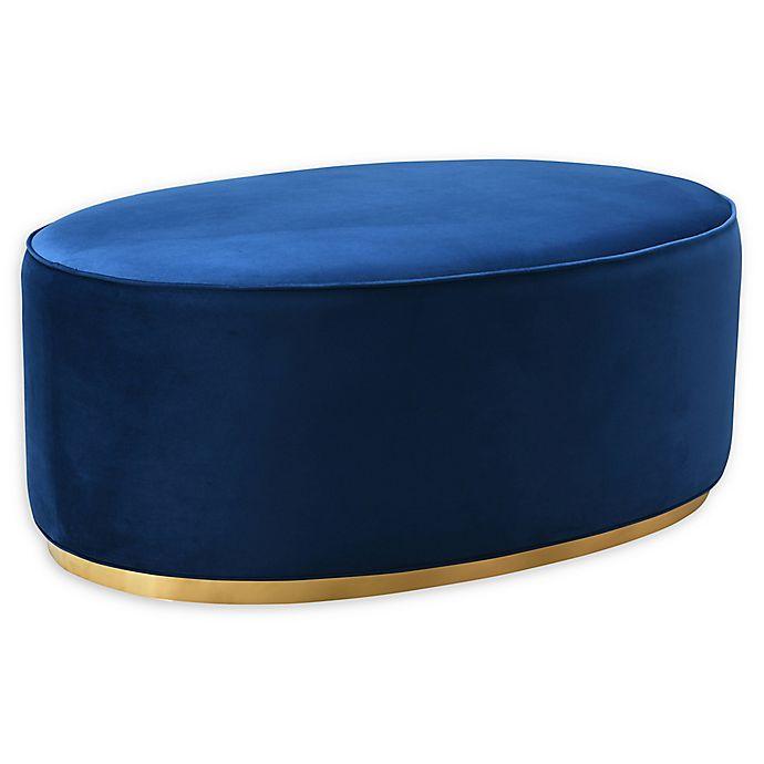 Alternate image 1 for TOV Furniture™ Velvet Upholstered Scarlett Ottoman in Navy