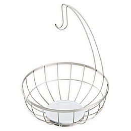 InterDesign® Ceramic Fruit Bowl in White/Satin