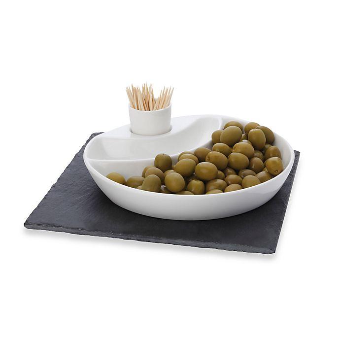 Alternate image 1 for Maxwell & Williams™ White Basics Slate 3-Piece Square Olive Dish Set