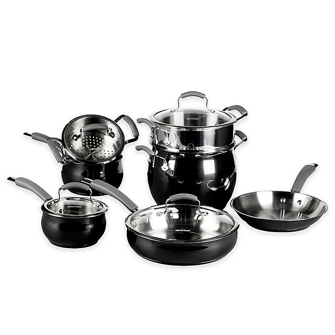 Alternate image 1 for Epicurious® 11-Piece Stainless Steel Cookware Set in Caviar