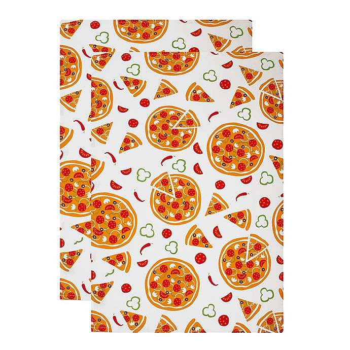 MU Kitchen™ Pizza Party Designer Print Kitchen Towels (Set ...