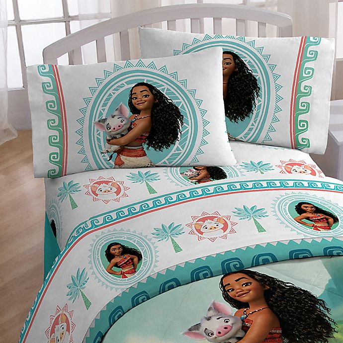 Alternate image 1 for Disney® Moana The Wave Twin Sheet Set in White/Blue