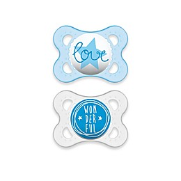 MAM Attitude 0-6 Months Orthodontic Pacifier (Set of 2) in Blue/Clear
