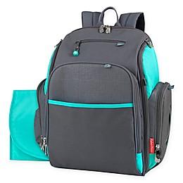 Fisher Price® Kaden Super Cooler Backpack Diaper Bag in Grey/Aqua